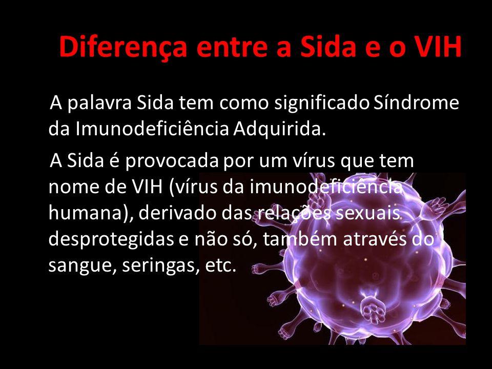Diferença entre a Sida e o VIH A palavra Sida tem como significado Síndrome da Imunodeficiência Adquirida.