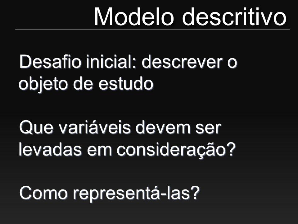 Desafio inicial: descrever o objeto de estudo Que variáveis devem ser levadas em consideração? Como representá-las? Modelo descritivo