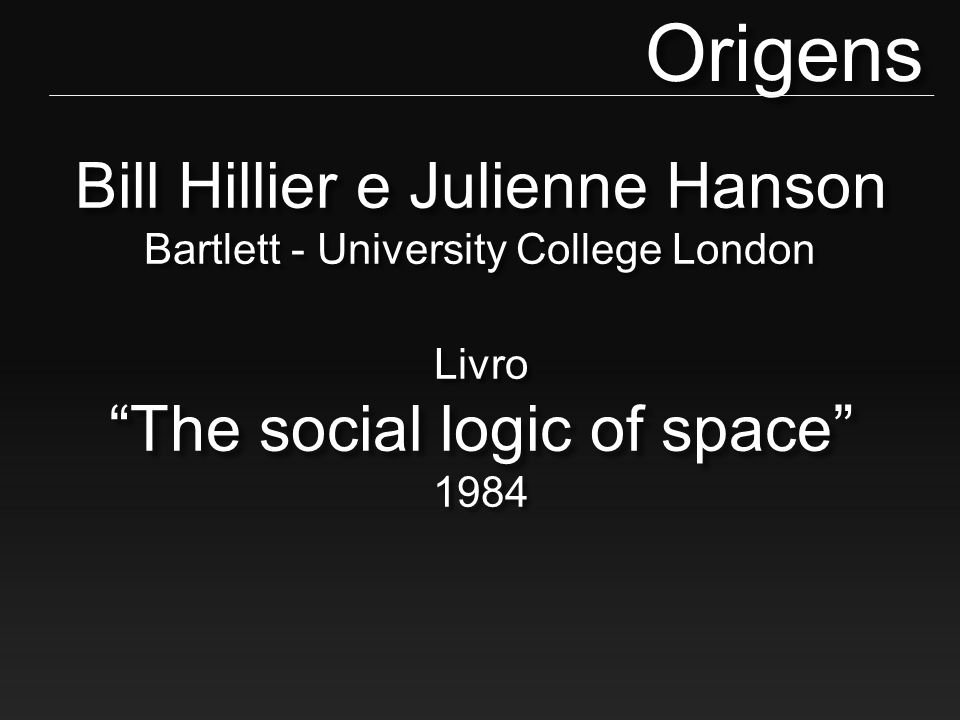 "Bill Hillier e Julienne Hanson Bartlett - University College London Livro ""The social logic of space"" 1984Origens"