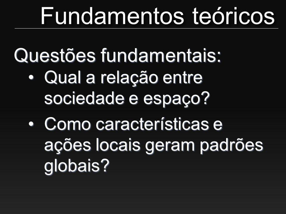 Questões fundamentais: •Qual a relação entre sociedade e espaço? •Como características e ações locais geram padrões globais? Fundamentos teóricos