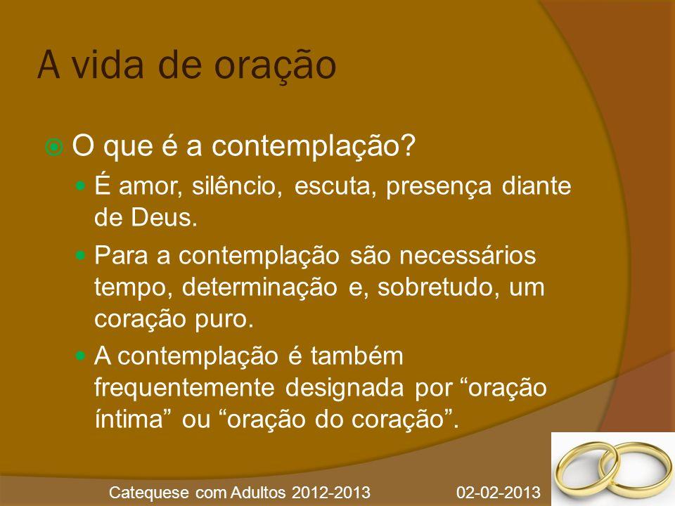 Catequese com Adultos 2012-2013 02-02-2013 A vida de oração  O que procura um cristão atingir com a meditação.