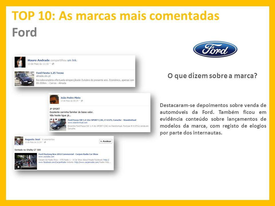 TOP 10: As marcas mais comentadas Ford O que dizem sobre a marca.