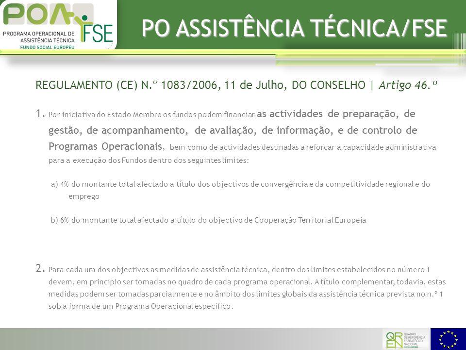 PO ASSISTÊNCIA TÉCNICA/FSE REGULAMENTO (CE) N.º 1083/2006, 11 de Julho, DO CONSELHO | Artigo 46.º 1.