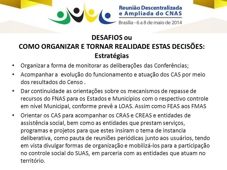 DESAFIOS ou COMO ORGANIZAR E TORNAR REALIDADE ESTAS DECISÕES: Estratégias • Organizar a forma de monitorar as deliberações das Conferências; • Acompan