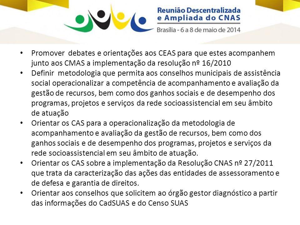 • Promover debates e orientações aos CEAS para que estes acompanhem junto aos CMAS a implementação da resolução nº 16/2010 • Definir metodologia que p