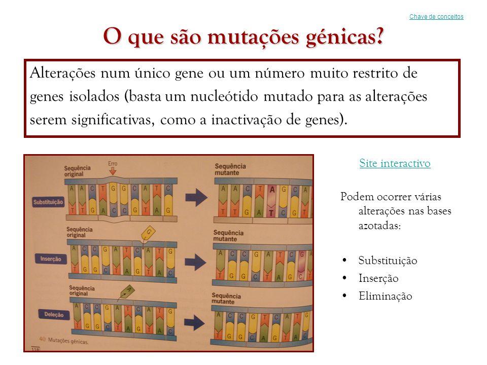 O que são mutações génicas? Alterações num único gene ou um número muito restrito de genes isolados (basta um nucleótido mutado para as alterações ser