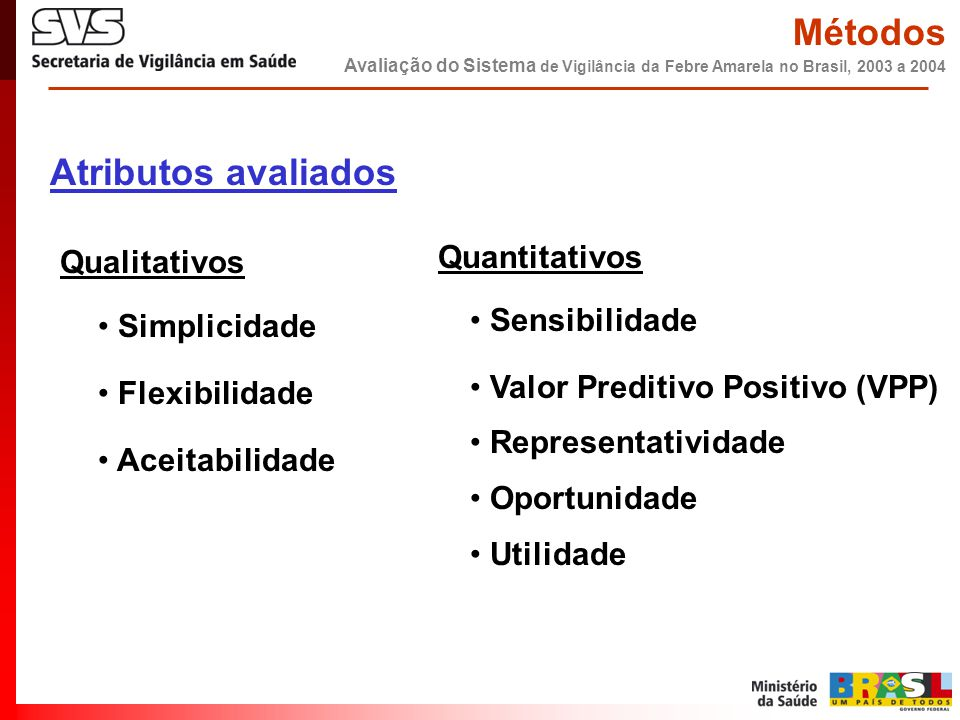 Qualitativos • Simplicidade • Flexibilidade • Aceitabilidade Quantitativos • Sensibilidade • Valor Preditivo Positivo (VPP) • Representatividade • Opo