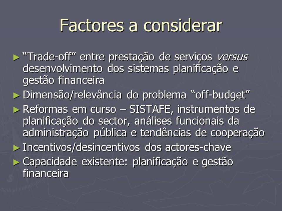 """Factores a considerar ► """"Trade-off"""" entre prestação de serviços versus desenvolvimento dos sistemas planificação e gestão financeira ► Dimensão/relevâ"""