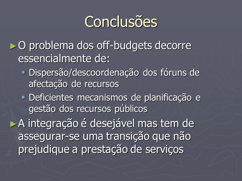Conclusões ► O problema dos off-budgets decorre essencialmente de:  Dispersão/descoordenação dos fóruns de afectação de recursos  Deficientes mecani