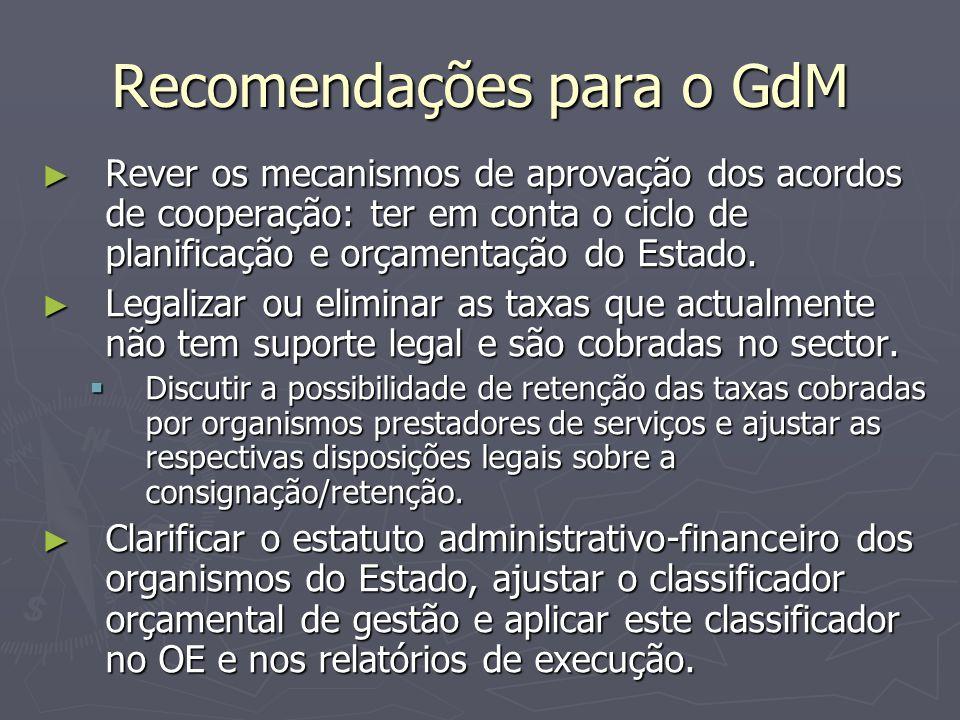 Recomendações para o GdM ► Rever os mecanismos de aprovação dos acordos de cooperação: ter em conta o ciclo de planificação e orçamentação do Estado.