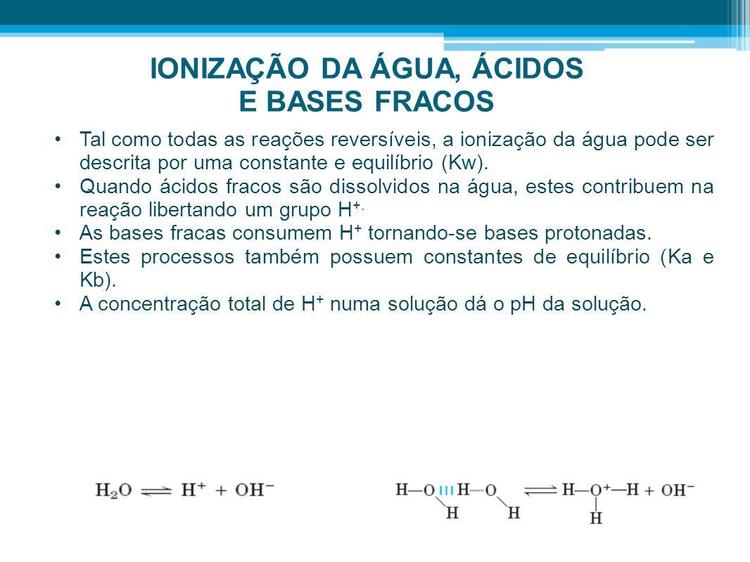 IONIZAÇÃO DA ÁGUA, ÁCIDOS E BASES FRACOS •Tal como todas as reações reversíveis, a ionização da água pode ser descrita por uma constante e equilíbrio
