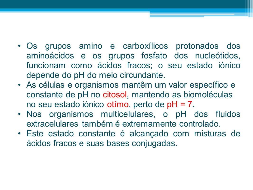•Os grupos amino e carboxílicos protonados dos aminoácidos e os grupos fosfato dos nucleótidos, funcionam como ácidos fracos; o seu estado iónico depe