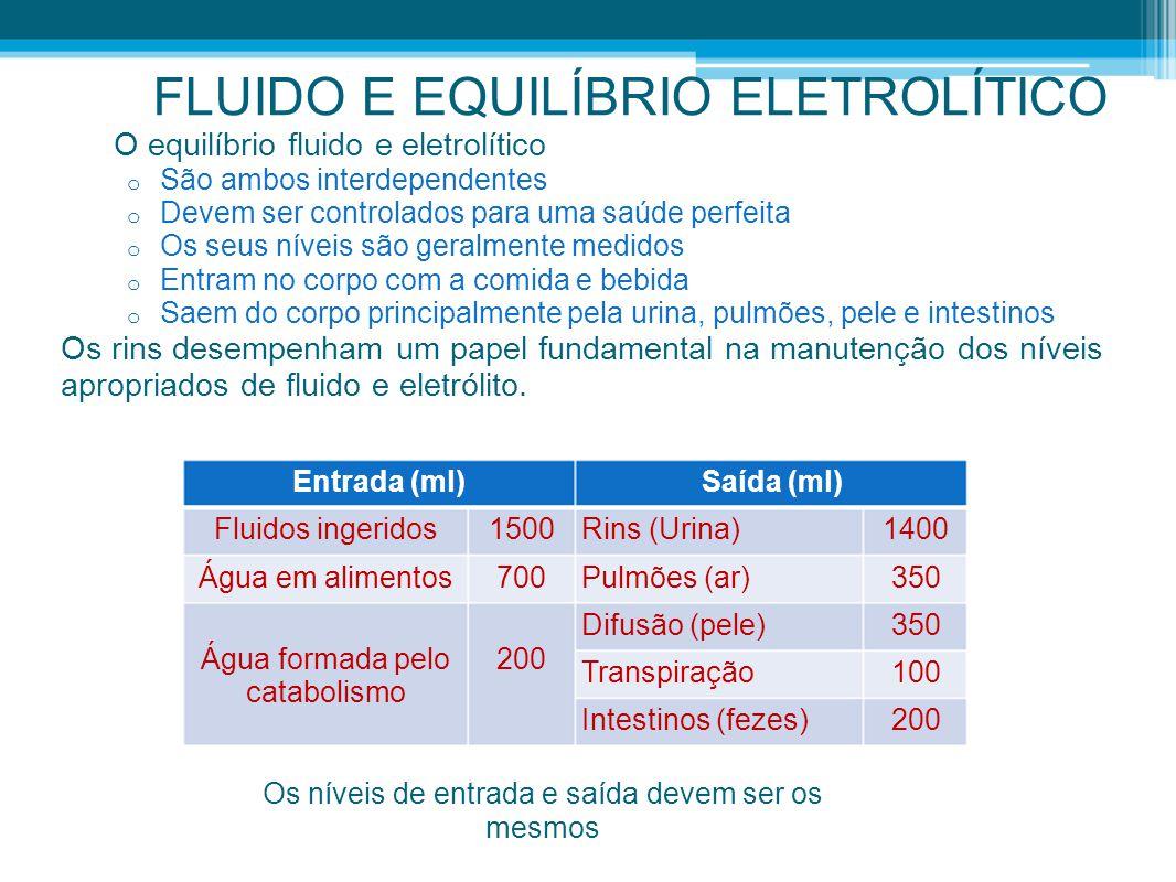 FLUIDO E EQUILÍBRIO ELETROLÍTICO O equilíbrio fluido e eletrolítico o São ambos interdependentes o Devem ser controlados para uma saúde perfeita o Os
