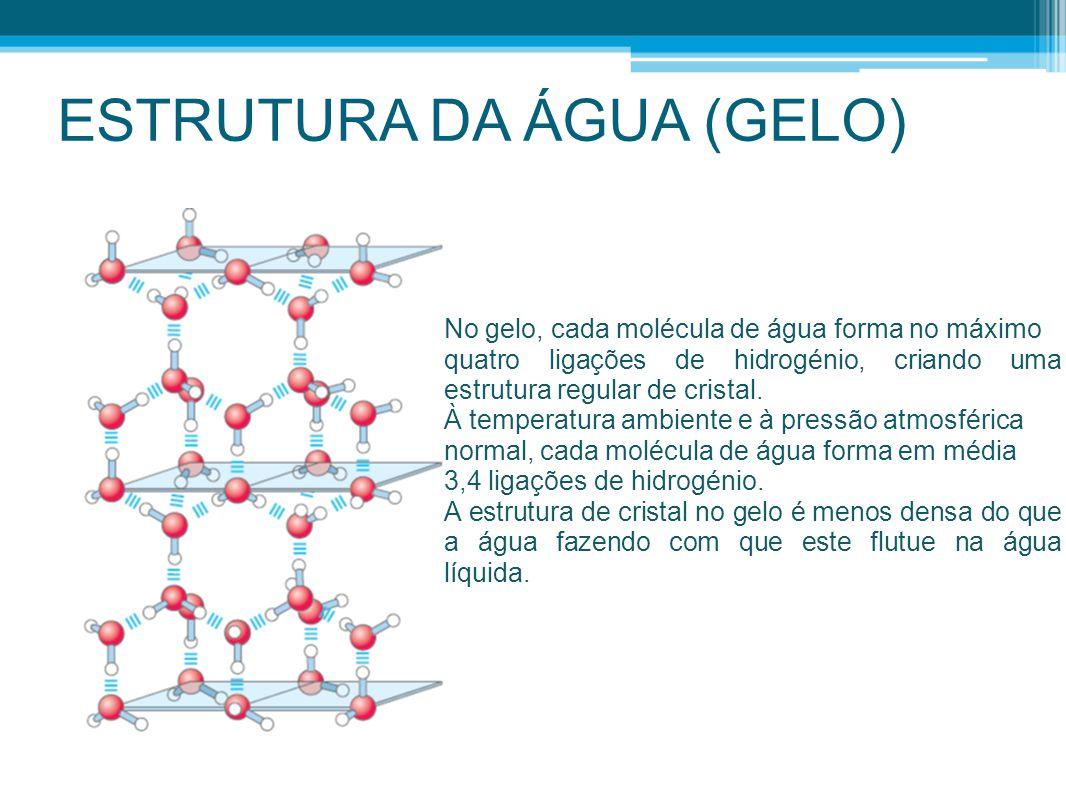 ESTRUTURA DA ÁGUA (GELO) No gelo, cada molécula de água forma no máximo quatro ligações de hidrogénio, criando uma estrutura regular de cristal. À tem