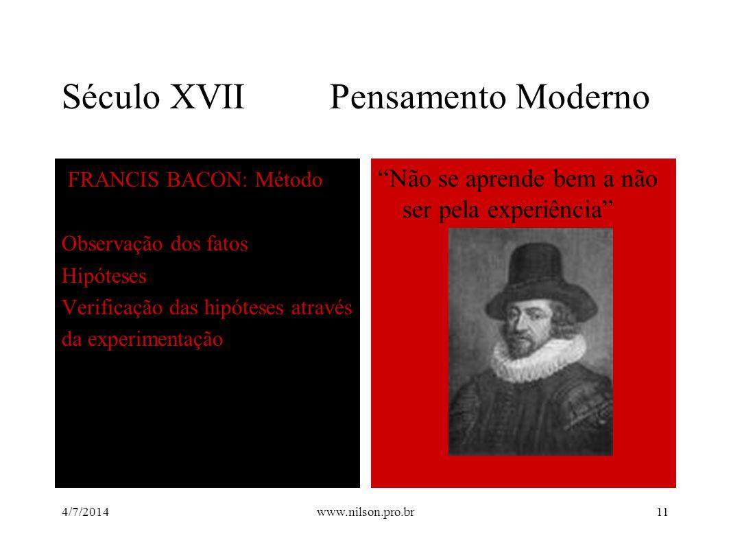 """Século XVII Pensamento Moderno FRANCIS BACON: Método Observação dos fatos Hipóteses Verificação das hipóteses através da experimentação """"Não se aprend"""