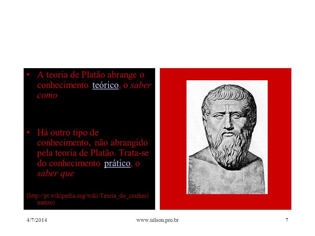 •A teoria de Platão abrange o conhecimento teórico, o saber comoteórico •Há outro tipo de conhecimento, não abrangido pela teoria de Platão. Trata-se