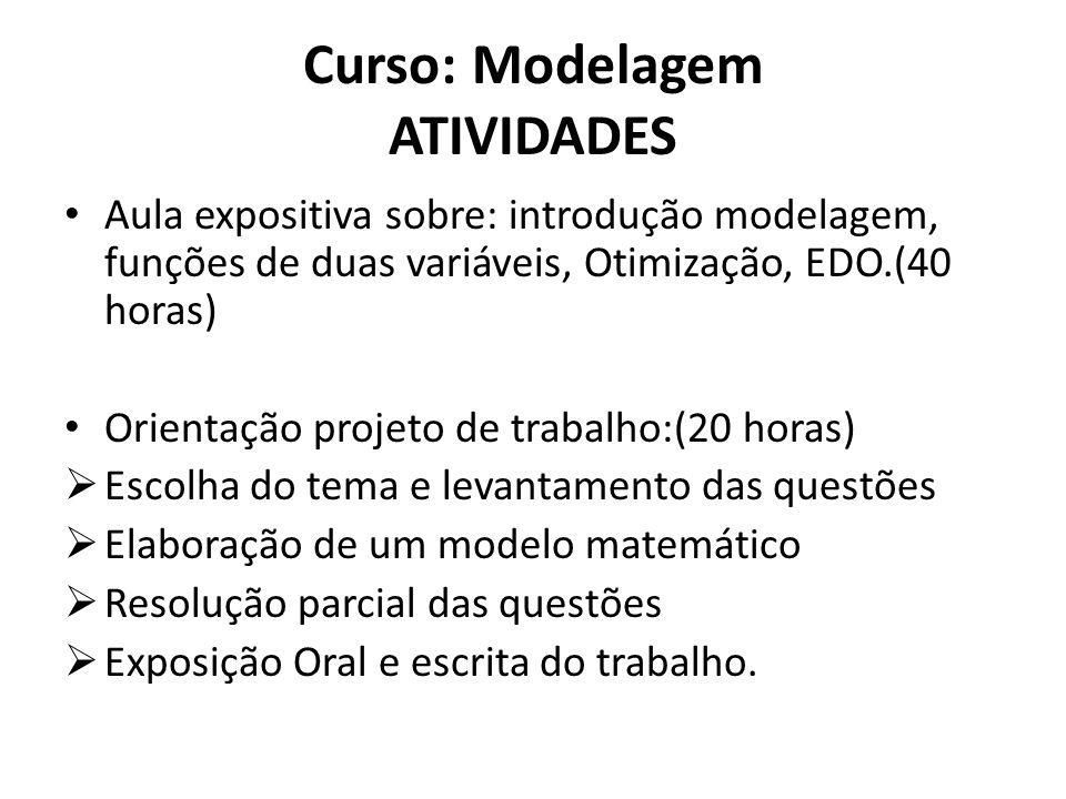 Curso: Modelagem ATIVIDADES • Aula expositiva sobre: introdução modelagem, funções de duas variáveis, Otimização, EDO.(40 horas) • Orientação projeto