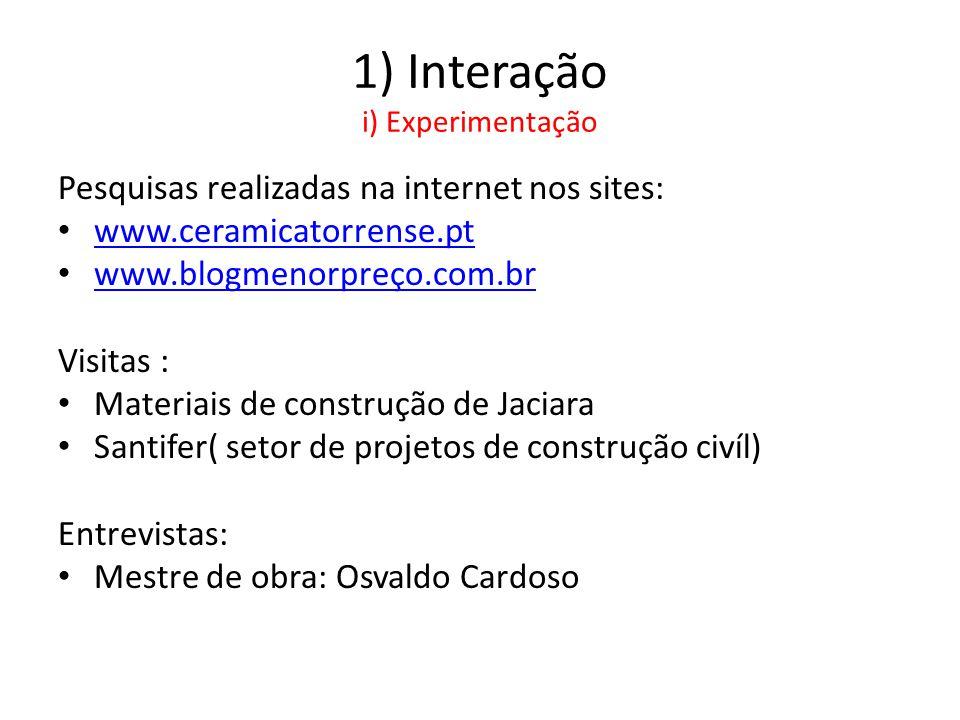 1) Interação i) Experimentação Pesquisas realizadas na internet nos sites: • www.ceramicatorrense.pt www.ceramicatorrense.pt • www.blogmenorpreço.com.