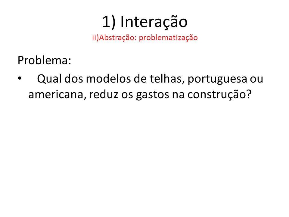 1) Interação ii)Abstração: problematização Problema: • Qual dos modelos de telhas, portuguesa ou americana, reduz os gastos na construção?