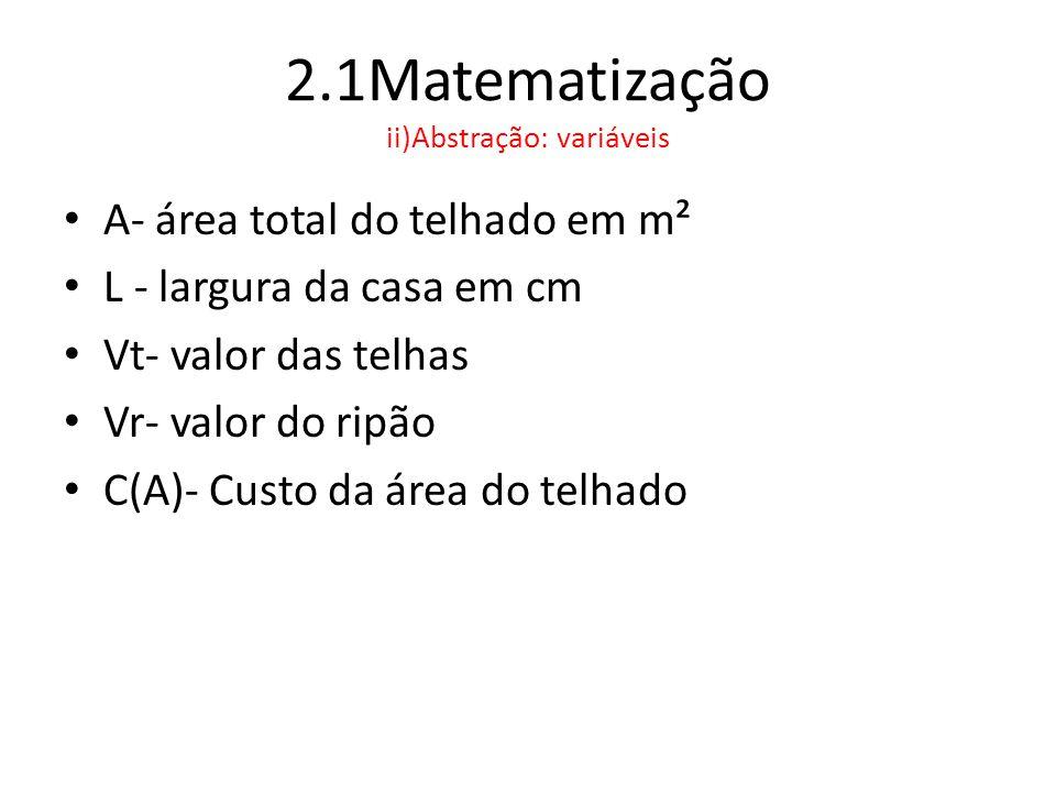 2.1Matematização ii)Abstração: variáveis • A- área total do telhado em m² • L - largura da casa em cm • Vt- valor das telhas • Vr- valor do ripão • C(