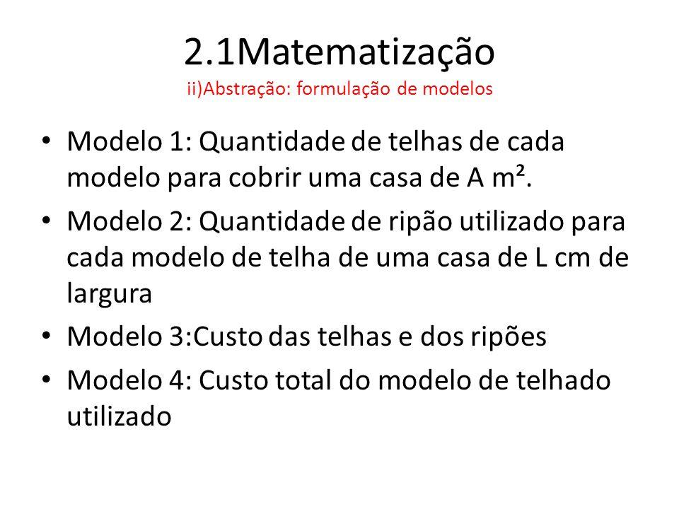 2.1Matematização ii)Abstração: formulação de modelos • Modelo 1: Quantidade de telhas de cada modelo para cobrir uma casa de A m². • Modelo 2: Quantid