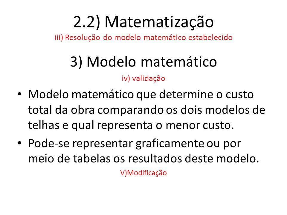 2.2) Matematização iii) Resolução do modelo matemático estabelecido 3) Modelo matemático iv) validação • Modelo matemático que determine o custo total