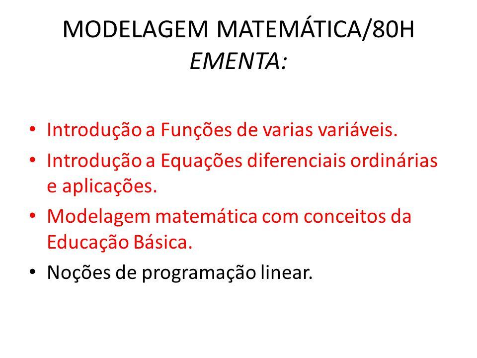 MODELAGEM MATEMÁTICA/80H EMENTA: • Introdução a Funções de varias variáveis. • Introdução a Equações diferenciais ordinárias e aplicações. • Modelagem