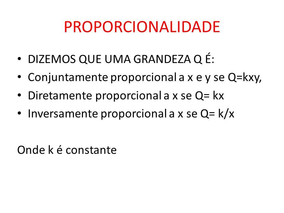 PROPORCIONALIDADE • DIZEMOS QUE UMA GRANDEZA Q É: • Conjuntamente proporcional a x e y se Q=kxy, • Diretamente proporcional a x se Q= kx • Inversament
