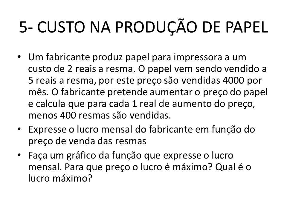 5- CUSTO NA PRODUÇÃO DE PAPEL • Um fabricante produz papel para impressora a um custo de 2 reais a resma. O papel vem sendo vendido a 5 reais a resma,