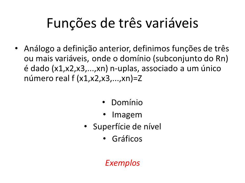 Funções de três variáveis • Análogo a definição anterior, definimos funções de três ou mais variáveis, onde o domínio (subconjunto do Rn) é dado (x1,x