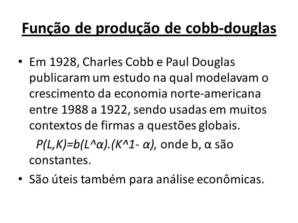 Função de produção de cobb-douglas • Em 1928, Charles Cobb e Paul Douglas publicaram um estudo na qual modelavam o crescimento da economia norte-ameri