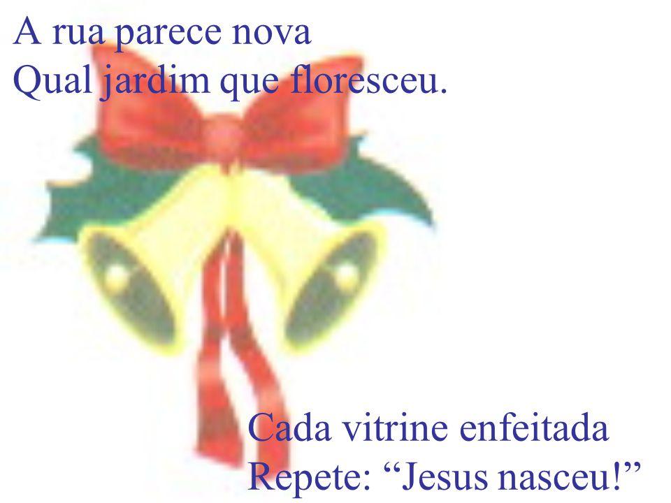 A rua parece nova Qual jardim que floresceu. Cada vitrine enfeitada Repete: Jesus nasceu!