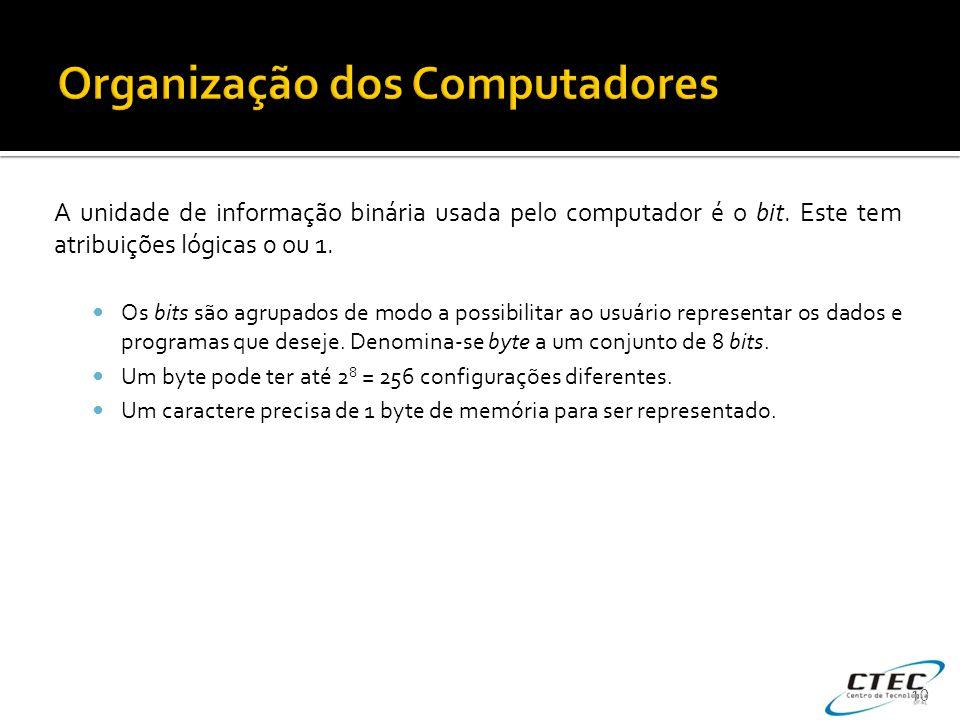 A unidade de informação binária usada pelo computador é o bit. Este tem atribuições lógicas 0 ou 1.  Os bits são agrupados de modo a possibilitar ao