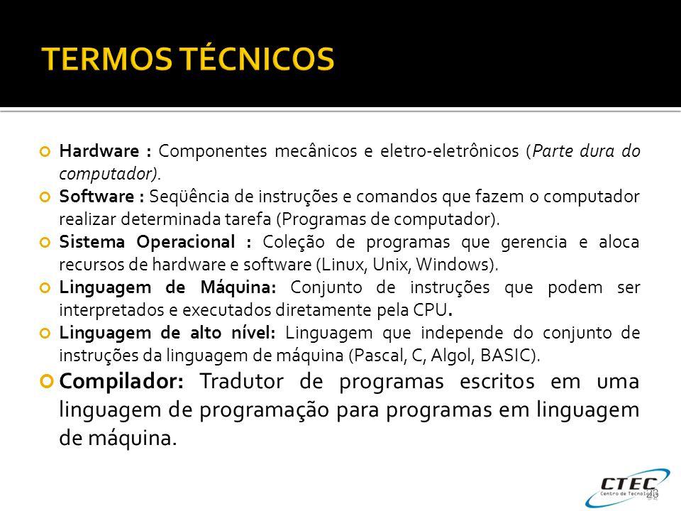 Hardware : Componentes mecânicos e eletro-eletrônicos (Parte dura do computador). Software : Seqüência de instruções e comandos que fazem o computador