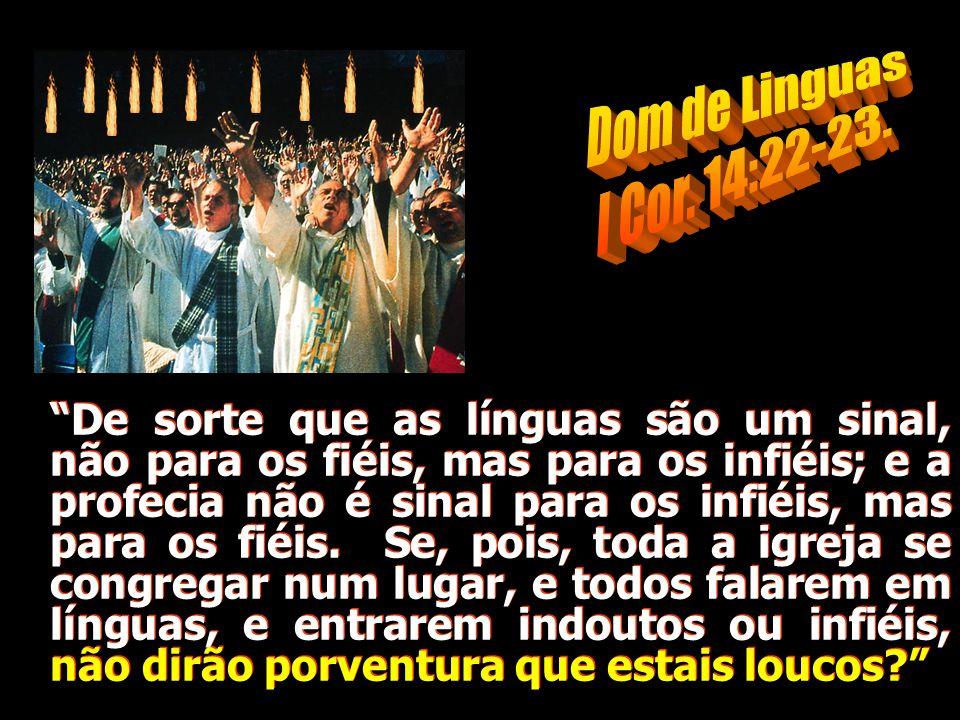 """""""De sorte que as línguas são um sinal, não para os fiéis, mas para os infiéis; e a profecia não é sinal para os infiéis, mas para os fiéis. Se, pois,"""