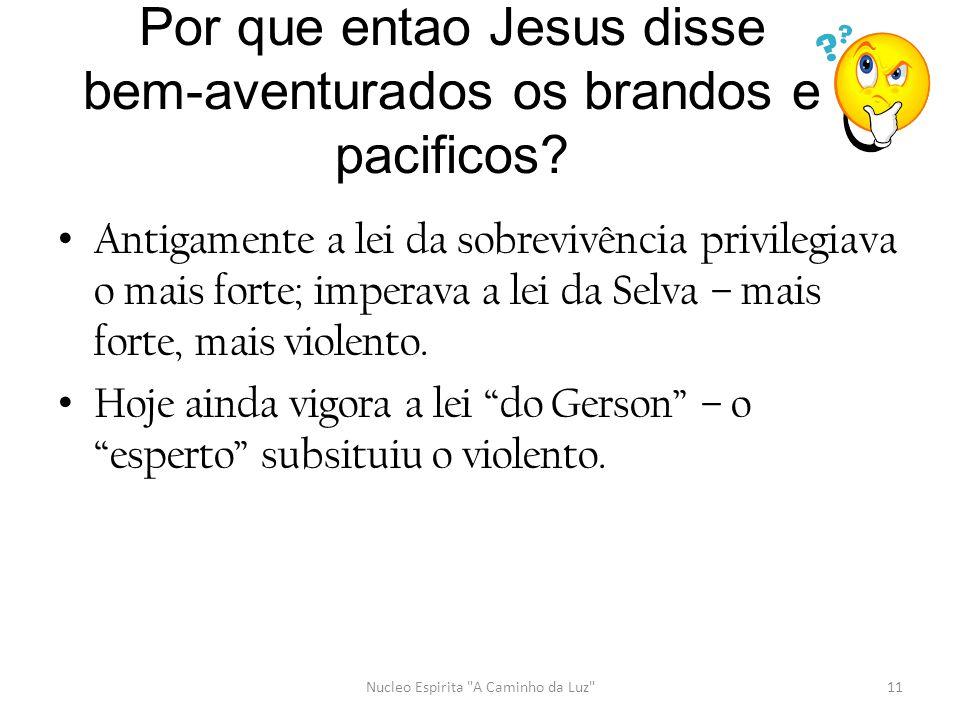 Por que entao Jesus disse bem-aventurados os brandos e pacificos? • Antigamente a lei da sobrevivência privilegiava o mais forte; imperava a lei da Se