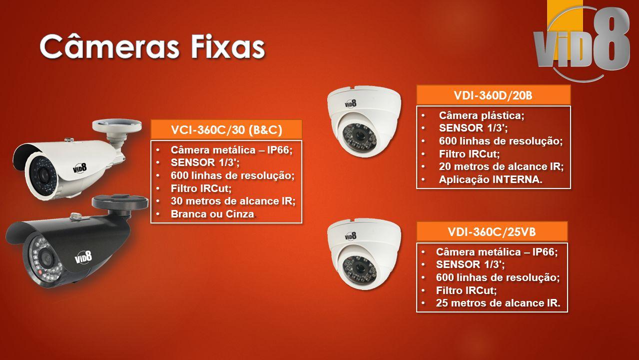 •Câmera metálica – IP66; •SENSOR 1/3 ; •600 linhas de resolução; •Filtro IRCut; •30 metros de alcance IR; •Branca ou Cinza.