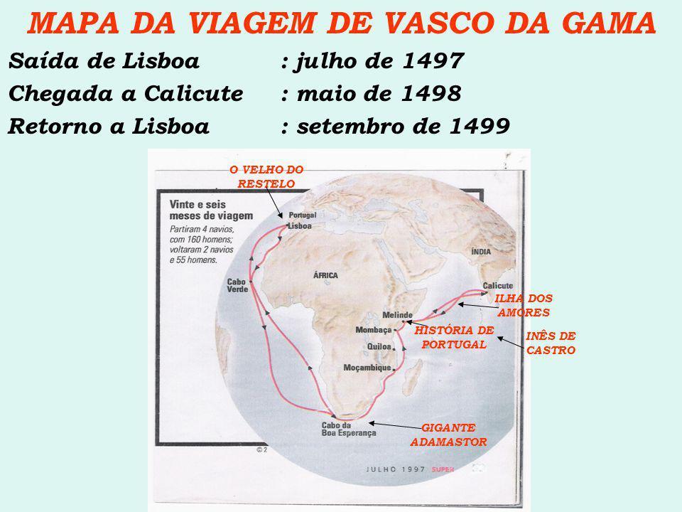 MAPA DA VIAGEM DE VASCO DA GAMA Saída de Lisboa: julho de 1497 Chegada a Calicute: maio de 1498 Retorno a Lisboa: setembro de 1499 HISTÓRIA DE PORTUGA