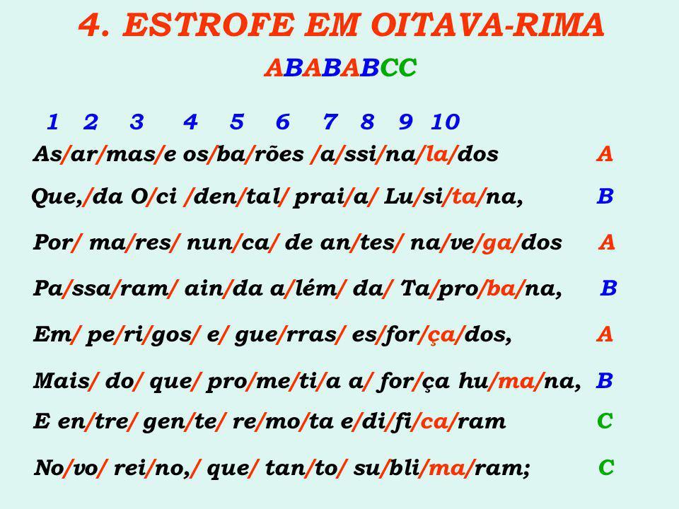 4. ESTROFE EM OITAVA-RIMA ABABABCC 1 2 3 4 5 6 7 8 9 10 As/ar/mas/e os/ba/rões /a/ssi/na/la/dos A Que,/da O/ci /den/tal/ prai/a/ Lu/si/ta/na, B Por/ m