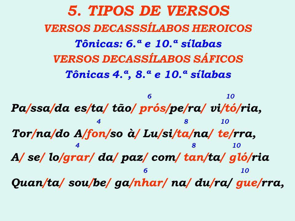 5. TIPOS DE VERSOS VERSOS DECASSSÍLABOS HEROICOS Tônicas: 6.ª e 10.ª sílabas VERSOS DECASSÍLABOS SÁFICOS Tônicas 4.ª, 8.ª e 10.ª sílabas 6 10 Pa/ssa/d