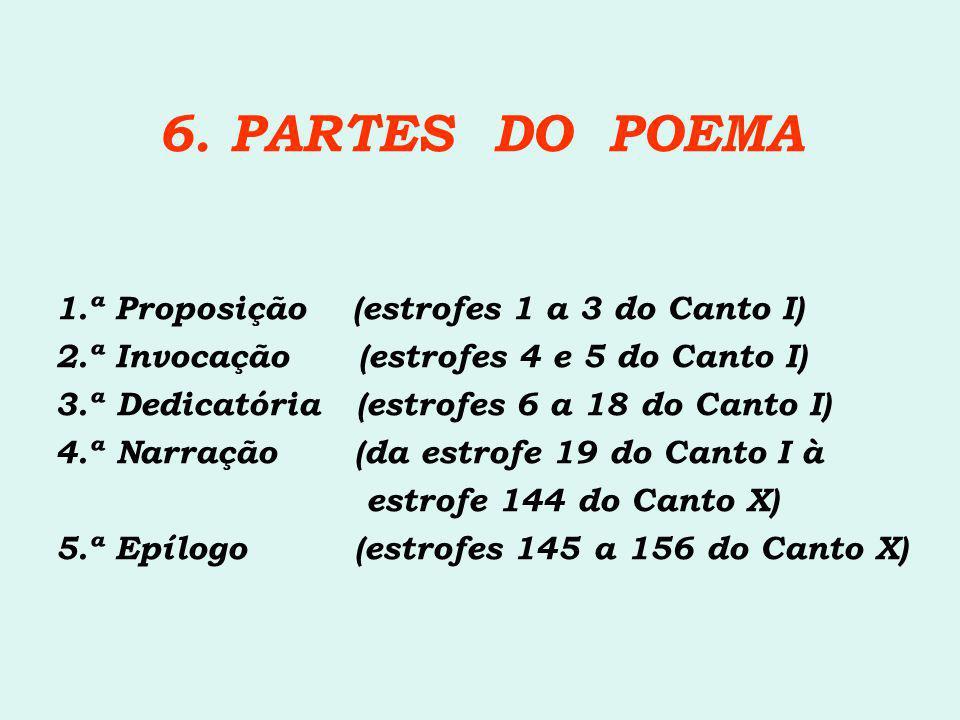 6. PARTES DO POEMA 1.ª Proposição (estrofes 1 a 3 do Canto I) 2.ª Invocação (estrofes 4 e 5 do Canto I) 3.ª Dedicatória (estrofes 6 a 18 do Canto I) 4