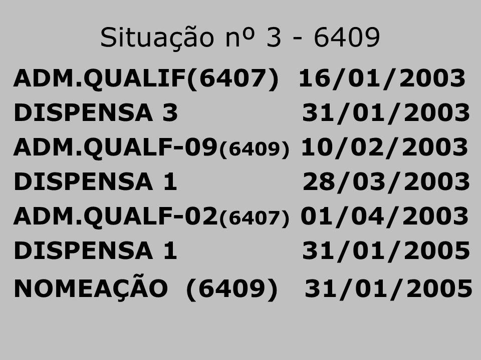 Situação nº 3 - 6409 ADM.QUALIF(6407) 16/01/2003 DISPENSA 3 31/01/2003 ADM.QUALF-09 (6409) 10/02/2003 DISPENSA 1 28/03/2003 ADM.QUALF-02 (6407) 01/04/