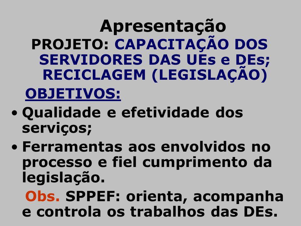 Apresentação PROJETO: CAPACITAÇÃO DOS SERVIDORES DAS UEs e DEs; RECICLAGEM (LEGISLAÇÃO) OBJETIVOS: •Qualidade e efetividade dos serviços; •Ferramentas