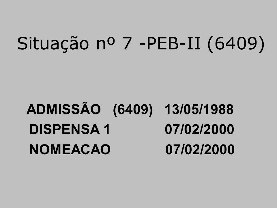 Situação nº 7 -PEB-II (6409) ADMISSÃO (6409) 13/05/1988 DISPENSA 1 07/02/2000 NOMEACAO 07/02/2000