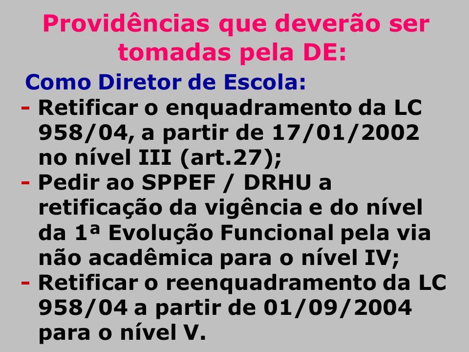 Providências que deverão ser tomadas pela DE: Como Diretor de Escola: - Retificar o enquadramento da LC 958/04, a partir de 17/01/2002 no nível III (a