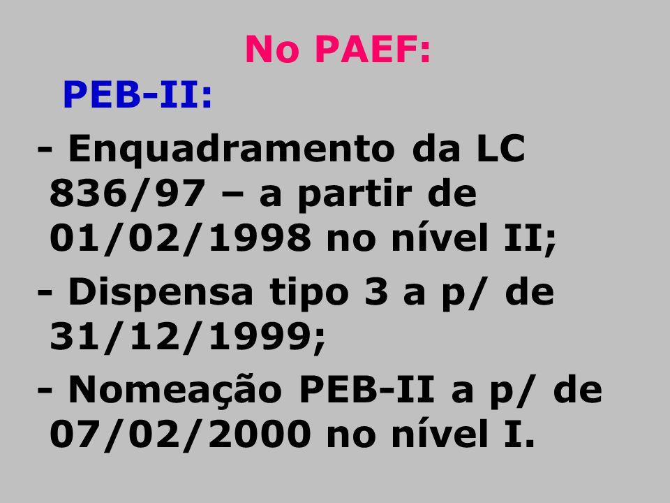 No PAEF: PEB-II: - Enquadramento da LC 836/97 – a partir de 01/02/1998 no nível II; - Dispensa tipo 3 a p/ de 31/12/1999; - Nomeação PEB-II a p/ de 07