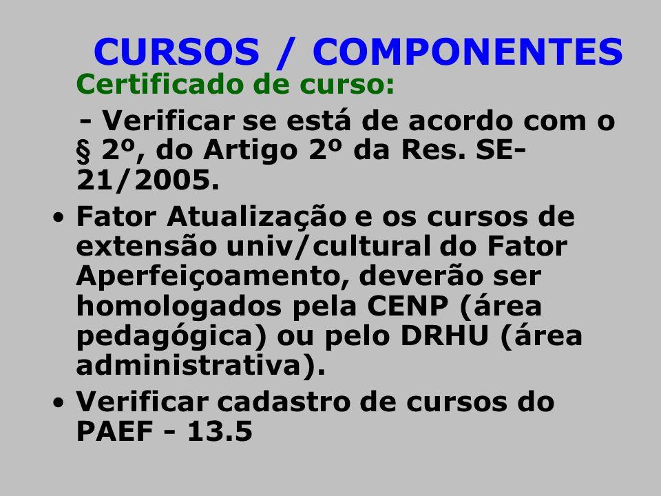 CURSOS / COMPONENTES Certificado de curso: - Verificar se está de acordo com o § 2º, do Artigo 2º da Res. SE- 21/2005. •Fator Atualização e os cursos