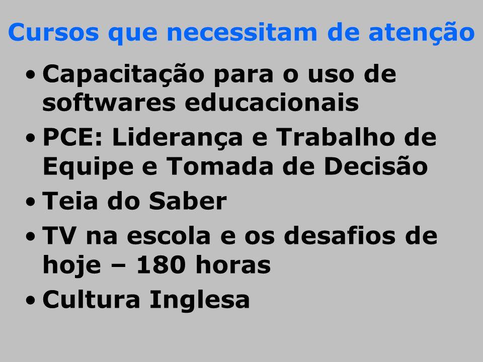 Cursos que necessitam de atenção •Capacitação para o uso de softwares educacionais •PCE: Liderança e Trabalho de Equipe e Tomada de Decisão •Teia do S