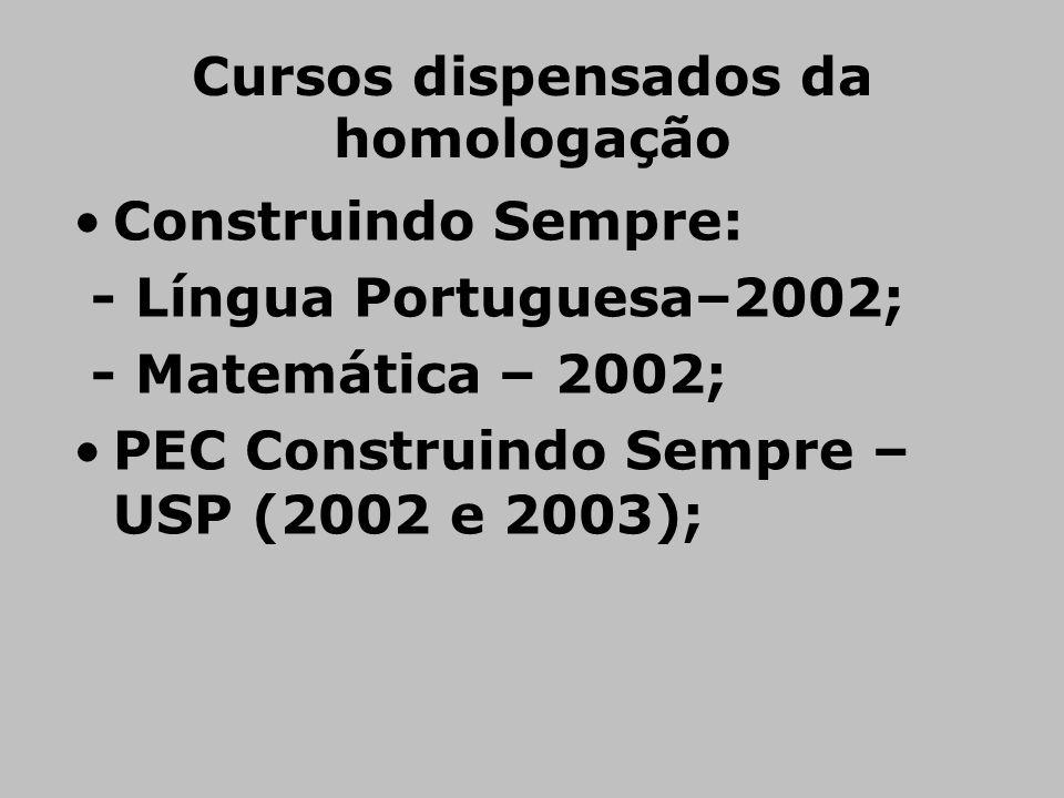 Cursos dispensados da homologação •Construindo Sempre: - Língua Portuguesa–2002; - Matemática – 2002; •PEC Construindo Sempre – USP (2002 e 2003);