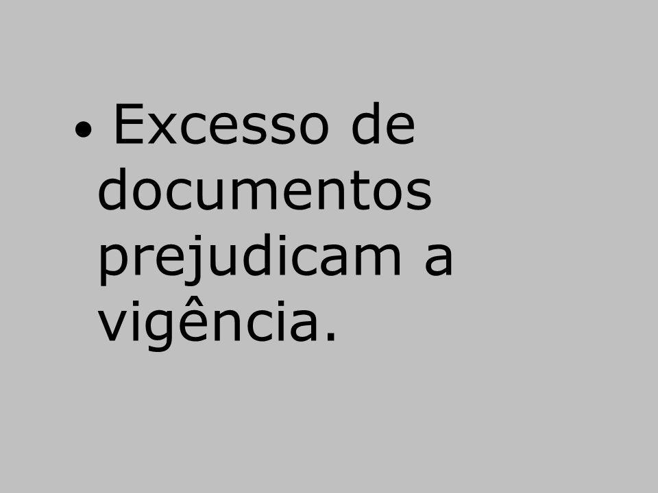 • Excesso de documentos prejudicam a vigência.